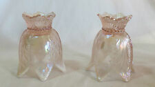 2 Fenton Pink Iridescent Opalescent Candle Holders Tulip Shape