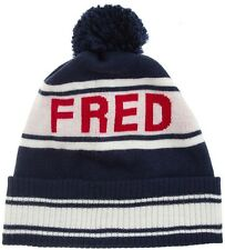 Fred Perry Ski Beanie # C5101 395 Navy & Red Wool