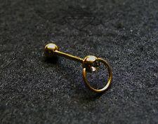 Zungenpiercing, 24 Karat vergoldet, beweglicher Ring, Zirkonia, Gold