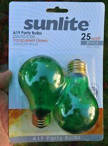 SUNLITE Transparent Green A19 PARTY BULBS, Light Bulb - 2 Pack, 25 Watt (New)