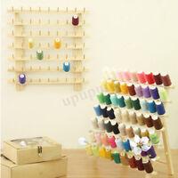 120 Spool Cone Holder Thread Wall Mount Rack Wood Sewing Room Organizer