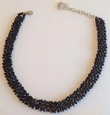 collier tour de coup rétro déco floral noir couleur argent 331