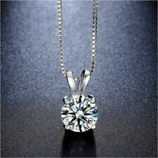 2Ct Certified Round Genuine Moissanite Solitaire Pendant 14K White Gold Pendant