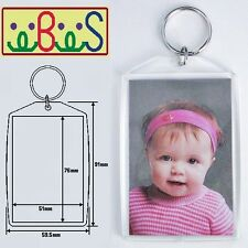 "3x Blank Clear Acrylic Keyring 76x51mm (3""x2"") Photo Size key ring plastic 99808"