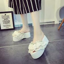 Womens Fashion Slippers Platform Faux Pearls Lace Ruffle Wedge High Heels Shoes