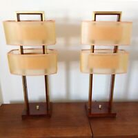 Pair (2) Mid-Century Modern Wood Brass Nova Table Lamps Fiberglass 2-Tier Shades