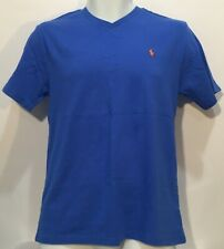 Polo Ralph Lauren Boys Cotton Jersey V-Neck Tee Short Sleeve Cyan Blue Sz L NWT