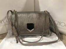 JIMMY CHOO LOCKETT CITY VINTAGE SILVER LEATHER BAG PURSE NWT