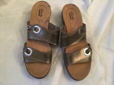 CLARKS Hayla Acadia Women's Sandals Slides Pewter Size 9.5 M