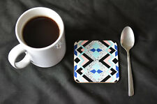 GEOMETRIC PATTERN Coaster Set of Four. Wedding Gift, New Home Gift Dining Decor