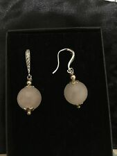 BRAND NEW STERLING SILVER ROSE QUARTZ DROP BALL EARRINGS - With Diamontes