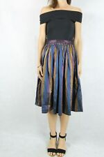 VINTAGE 80s Striped Taffeta Skirt Size 8