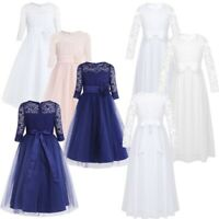 Girls Bridesmaid Wedding Flower Girl Dress Kids Floral Lace Pageant Party Dress