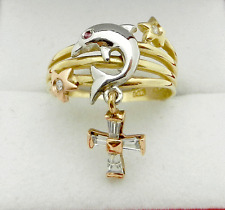Star Dolphin Charm Dangle CROSS 14k Multi-Tone Gold Ladies Ring size 7