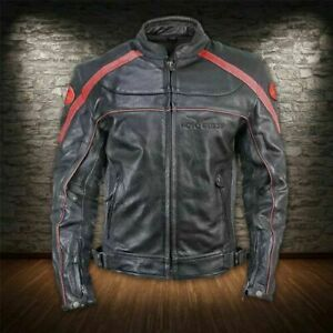 Moto Guzzi Motorbike Leather Jacket in Cowhide / 5 Ce Approved Protections
