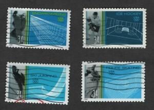 #35552-3555 Winter Olympics, Used Set of 4, 34 cent, Off Paper