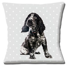 "Cocker Spaniel Puppy Cushion Cover 16""x16"" 40cm Black White Dog Grey White Polka"