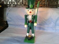 "St Patrick's Day Leprechaun Pot Of Gold Irish Nutcracker 13"" Wooden"