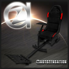 Black Red PV Leather Racing Gaming Seat Driving Simulator Cockpit