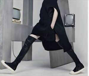 Rick Owens Leather Socks Sneakers Knee High Boots Flat Shoes EU 39 From Japan