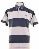 GANT Mens Polo Shirt Large Navy Blue Striped Cotton  H212