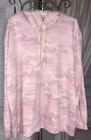 New Plus Size 1X Pink Hooded Top Knit Camouflage Camo Shirt Hoodie