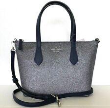 New Kate Spade New York Joeley small Satchel handbag Glitter Silver Dusk Navy