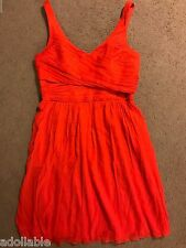 NWT $200 J CREW HEIDI CORAL RED 100% SILK CRINKLE DRESS WEDDING PARTY REUNION 12
