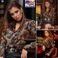 Women Chain Print Long Sleeve V Neck Blouse Casual Tops T-shirt Shirts Blouse US