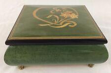 Vtg Swiss Reuge Italian Inlaid Heart Wood Music Jewelry Trinket Box On My Own