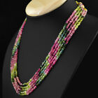 270.50 CTS UNTREATED WATERMELON TOURMALINE 5 LINE FACETED BEADS NECKLACE (DG)