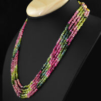 270.50 CTS NATURAL UNTREATED WATERMELON TOURMALINE 5 LINE FACETED BEADS NECKLACE