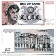YUGOSLAVIA 500000000 DINARA HYPER INFLATION NOTE # 621