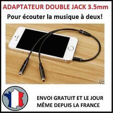 CÂBLE AUDIO DOUBLE JACK 3,5MM ADAPTATEUR MÂLE FEMELLE SMARTPHONE 3.5 MM SON 4P M