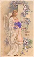 ANGEL WITH MATERIAL EMBOSSED ROBE~EASTER GREETINGS~GERMAN PUBL POSTCARD c1912