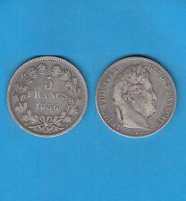 // 5 Francs argent Louis-Philippe Laurée Tranche en relief 1836  Lyon  RARE
