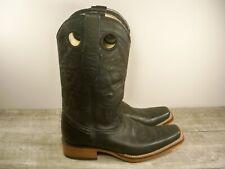 Los Altos Black Leather Punchy Buckaroo Pull On Cowboy Western Boots Size 7.5