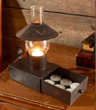 Tea Light Lantern Holder Rustic Primitive Metal 12 Candles Drawer Punched Tin