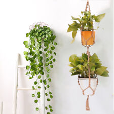 Double 2 Layer Jute Rope Plant Hanger Hanging Basket Macrame Pot Holder UK