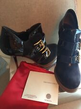 NIB AUTHENTIC GIANMARCO LORENZI BLACK LEATHER ANKLE BOOTS SZ UK 7. Eur 7