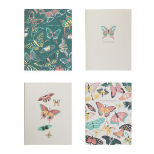 12 NOTECARDS & ENVELOPES butterfly print hello thank you greetings cards BLANK