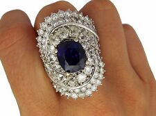 18K White Gold 5.08ct Sapphire 9.6ct Diamond Ring Size 9 3/4