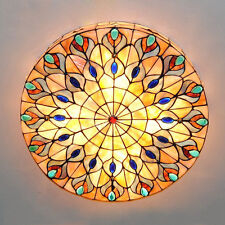Peacock Big Ceiling Light Retro 4-Light Tiffany Style Stained Glass Lamp Fixture