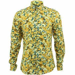 Mens Shirt Loud Originals SLIM FIT Flowers Blue Retro Psychedelic Fancy