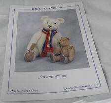 Teddy Bear's Knitting Pattern Instructions to Make Matilda and William. Teddies