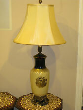 """35"""" ANTIQUE  GLASS WITH GOLD AND BLACK , BRASS + MARBLE BASE TABLE LAMP +SHADE"""