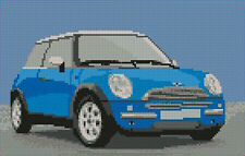 "Mini Cooper Light Blue Complete Cross Stitch Kit 10""x6"""