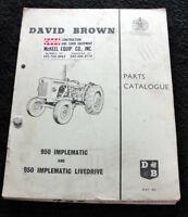 ORIGINAL 1964 DAVID BROWN 950 IMPLEMATIC & LIVEDRIVE TRACTOR PART MANUAL