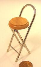 1:12 Scale Chrome Folding Stool Oak Wooden Seat Tumdee Dolls House Pub Bar Chair