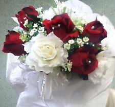 21 Pc Set Apple Red And Ivory Wedding Bouquet Package Rush orders Availabe